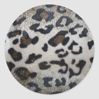 Leopard pattern, natural color fake fur closeup round stickers
