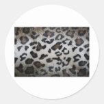 Leopard pattern, natural color fake fur closeup round sticker