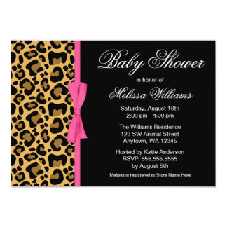 Leopard Pattern Pink Printed Ribbon Baby Shower 5x7 Paper Invitation Card