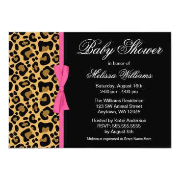 Toddler & Baby themed Leopard Pattern Pink Printed Ribbon Baby Shower Card