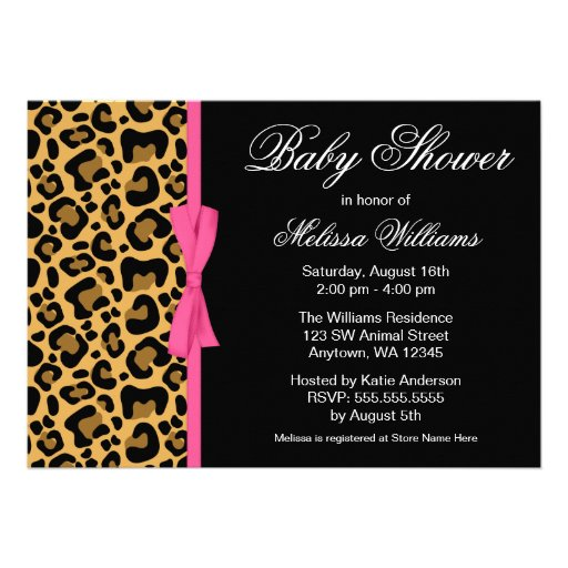 pink printed ribbon baby shower 5x7 paper invitation card zazzle