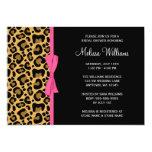 Leopard Pattern Pink Printed Ribbon Bridal Shower Card
