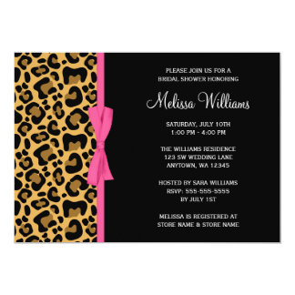 Leopard Pattern Pink Printed Ribbon Bridal Shower Card