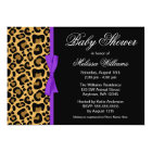Leopard Pattern Purple Printed Ribbon Baby Shower Card
