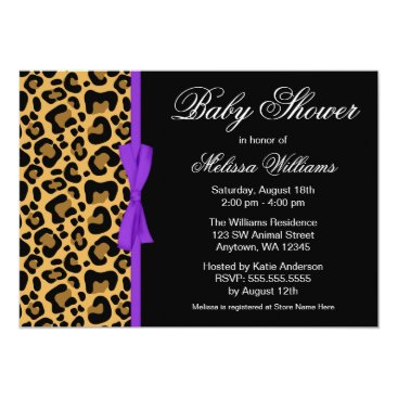 Toddler & Baby themed Leopard Pattern Purple Printed Ribbon Baby Shower Card