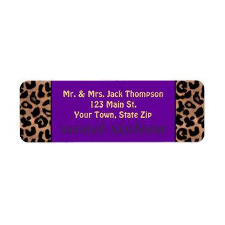 Leopard Pattern Purple Stripe Sweet 16 Label