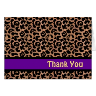 Leopard Pattern Purple Stripe Sweet 16 THANK YOU