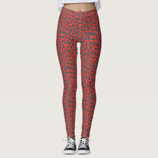 Leopard Patterned Leggings - Slate Blue on Red