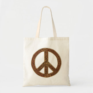 Leopard Peace Sign Animal Budget Tote