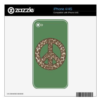 Leopard Peace Symbol iPhone 4S Skin