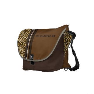 Leopard Personalized Racing Stripe Messenger Messenger Bag