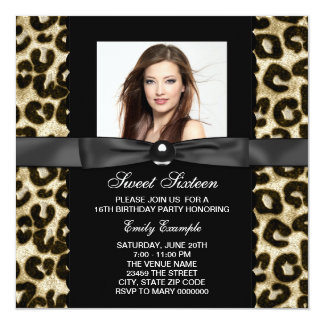 Leopard Photo Sweet 16 Birthday Party Card