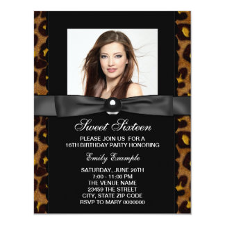 Leopard Photo Sweet 16 Birthday Party 4.25x5.5 Paper Invitation Card