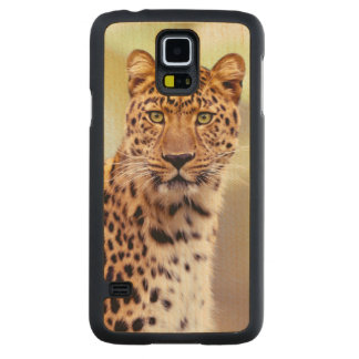 Leopard Photograph Image Carved Maple Galaxy S5 Case