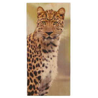Leopard Photograph Image Wood USB 2.0 Flash Drive