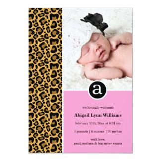 Leopard Pink Black Monogram Girl Photo Birth Card