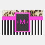 Leopard Pink Black & White Stripes Monogram Seal Rectangular Sticker