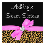 "Leopard Pink Bow Diamond Sweet 16 Invitations 5.25"" Square Invitation Card"