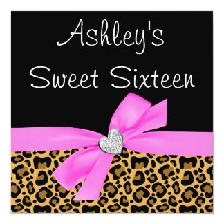 Leopard Pink Bow Diamond Sweet 16 Invitations Personalized Invites