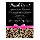 Leopard Pink Bow Girl Safari Baby Shower Thank You Postcard