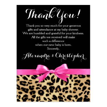 Toddler & Baby themed Leopard Pink Bow Girl Safari Baby Shower Thank You Postcard