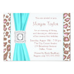 Leopard Pink Brown Teal 21st Birthday Party 5x7 Paper Invitation Card