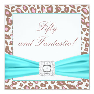 Leopard Pink Brown Teal Womans 50th Birthday Party Card