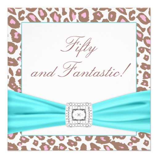 Leopard Pink Brown Teal Womans 50th Birthday Party Invites