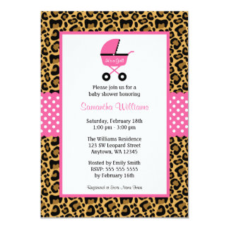 Leopard Pink Carriage Dots Baby Shower 5x7 Paper Invitation Card