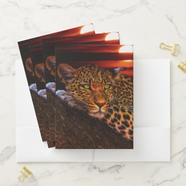 Beach Themed Leopard Pocket Folder