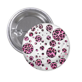 Leopard Polka Dot Black and Hot Pink Print Button