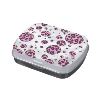 Leopard Polka Dot Black and Hot Pink Print Jelly Belly Tins
