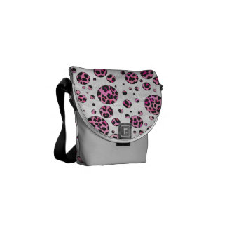 Leopard Polka Dot Black and Hot Pink Print Messenger Bag