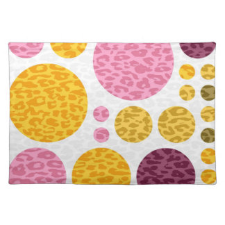 Leopard Polka Dots   Abstract Art Cloth Placemat