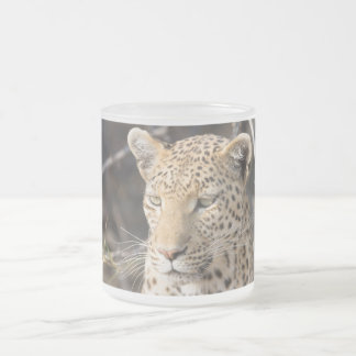 Leopard portrait frosted glass coffee mug