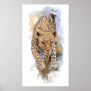 Art Themed Leopard Poster