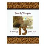 "Leopard Print: 13th Birthday Invitation 4.25"" X 5.5"" Invitation Card"