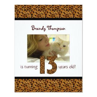 Leopard Print: 13th Birthday Invitation