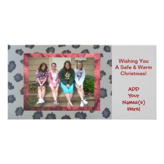"Leopard print ""Add Your Photo"" Christmas card! Customized Photo Card"