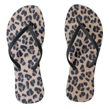 Beach Themed Leopard Print Adult Flip Flops, Slim Straps Flip Flops