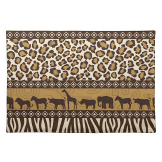 Leopard Print and African Animals Cloth Placemat