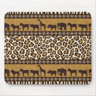 Leopard Print and African Animals Mouse Pad