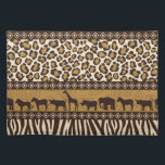 """Leopard Print and African Animals Placemat<br><div class=""""desc"""">It&#39;s a jungle out there so go wild with this African theme design featuring a bold leopard print and wild animals in shades of tan and brown.</div>"""