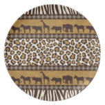 Leopard Print and African Animals Plate