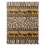 Leopard Print and African Animals Spiral Note Books