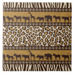 """Leopard Print and African Animals Tile<br><div class=""""desc"""">It&#39;s a jungle out there so go wild with this African theme design featuring a bold leopard print and wild animals in shades of tan and brown.</div>"""