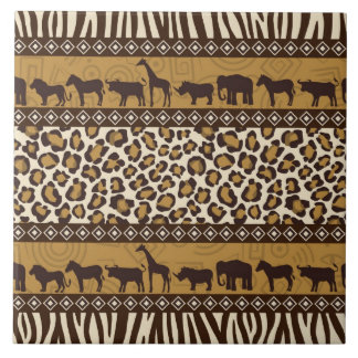Leopard Print and African Animals Tile
