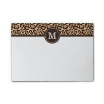 Leopard Print and Brown Custom Monogram Post-it Notes