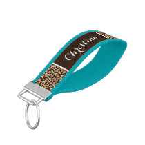 Leopard Print and Brown Monogram Wrist Keychain