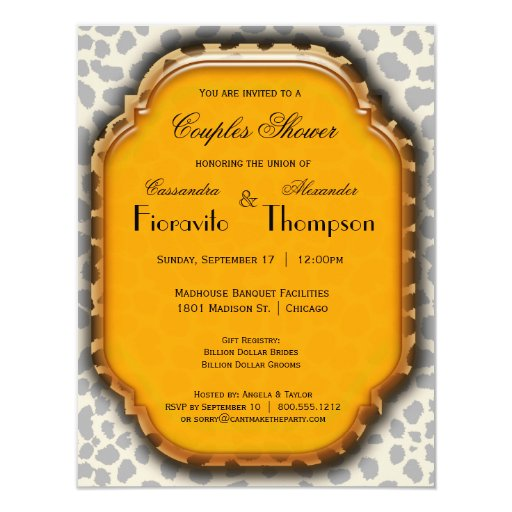 "Leopard Print And Deep Yellow Accent Frame Invite 4.25"" X 5.5"" Invitation Card"